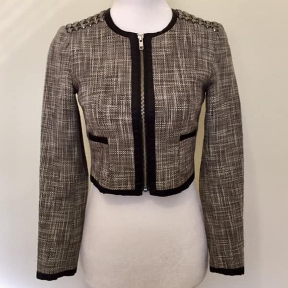 H&M Cropped Wool-blend Blazer w/ Shoulder Details